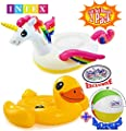 "Matty's Toy Stop Inflatable Pool Floats Unicorn (79""x55""x38"") & Duck (58""x58""x32"") Ride-On Pool Floats Gift Set Bundle with Bonus 16"" Beach Ball - 2 Pack"