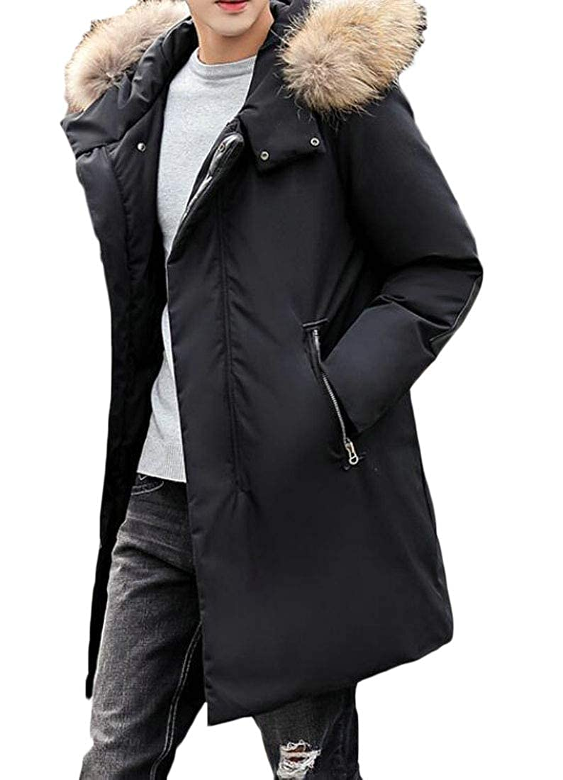 KLJR Men Warm Hooded Mid Length Quilted Padded Jacket Coat Outwear
