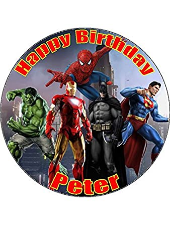 75 Superheroes Edible Icing Birthday Cake Topper Superhero