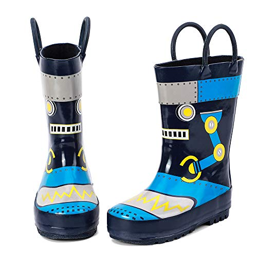 ALEADER Kids Waterproof Rubber Rain Boots for Girls, Boys & Toddlers with Fun Prints & Handles Navy/Robot 9 M US Toddler
