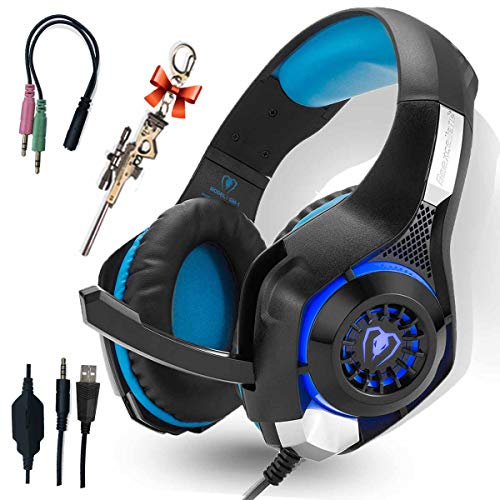(Pro Gaming Headset for PC PS4 Xbox One Surround Sound Over-Ear Headphones with Mic LED Light Bass Surround Soft Memory Earmuffs for Computer Laptop Switch Games Kid's Boy's Teen's Gifts)