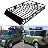 ECOTRIC 64' Universal Black Roof Rack Cargo Carrier Car Top Luggage Holder with Extension Carrier Basket SUV Storage for Travel