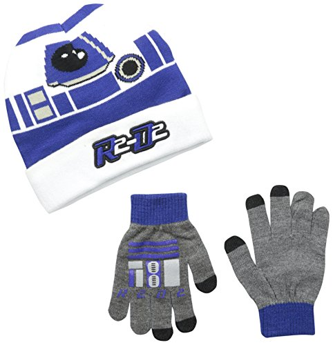 Star Wars Little Boys' R2D2 Cuffed Beanie and Glove Set, White, One Size (R2d2 Hat)