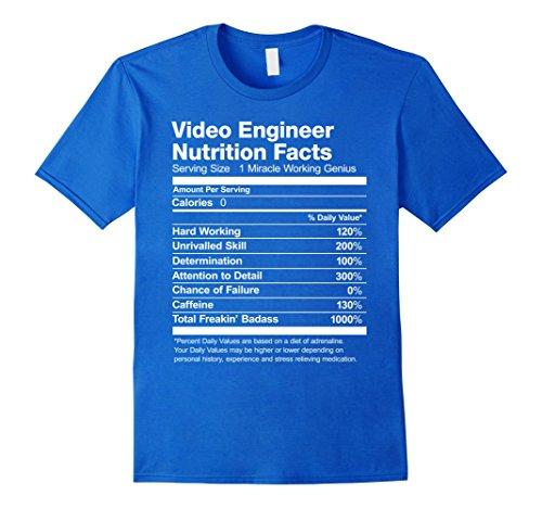 Engineer Short Sleeve T-shirt (Mens Video Engineer Nutrition Facts Funny T-Shirt Short Sleeve XL Royal Blue)