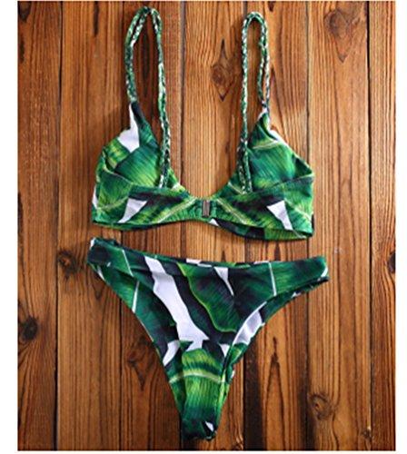 NiSeng Mujeres Impresión digital 2 Piezas Bikini Set Traje De Baño Push Up Bikini Swimwear 1#