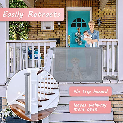 """Babepai Retractable Baby Gate Door Grey, Extra Wide Baby Safety Gate and Pet Gate for Stairs, Doors, and More, Fabric Baby Gate Mesh Safety Gate 52"""" Wide Indoor/Outdoor, Grey"""