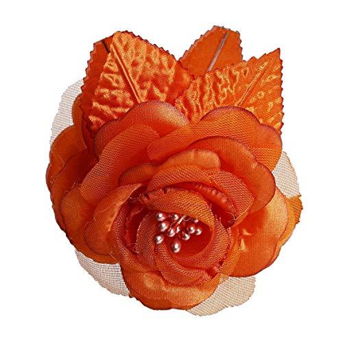 CB 12 Silk Roses Wedding Favor Flower Corsage Pick - Orange