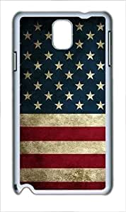 Samsung Galaxy Note 3 Case Cover - American Flag Grunge Custom PC Case for Samsung Galaxy Note 3 / Note III/ N9000 White