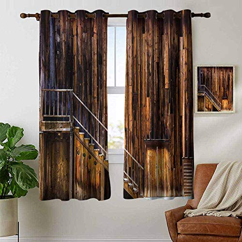 petpany Blackout Curtains Western,Wooden Cabin Structure Stairway Old Western Gold Rush Town in USA California,Brown Orange,Insulating Room Darkening Blackout Drapes for Bedroom 42