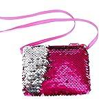 Longay Women Girls Fashion Double Color Sequins Bag Storage Bag Ladies Purse Pouch (Hot Pink)