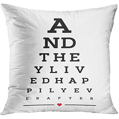 Throw Pillow Cover Prints Eye Chart Snellen Wall Word Design They Lived Happily Ever After Calligraphy Graphic Decorative Pillow Case Home Decor Square 18x18 Inches Pillowcase