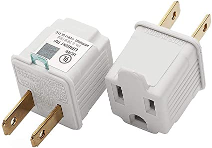 10 Convert 3 Prong to 2 Prong AC Wall Outlet Cord End Adapter Polarized Leviton