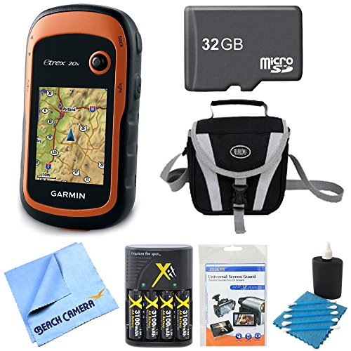 Garmin 010-01508-00 - eTrex 20x Handheld GPS 32GB Micro SD Memory Card Bundle Includes eTrex 20x GPS, Screen Protector 3-Pack, Cleaning Kit, Gadget Bag, 32GB Micro SD Memory Card and More ()