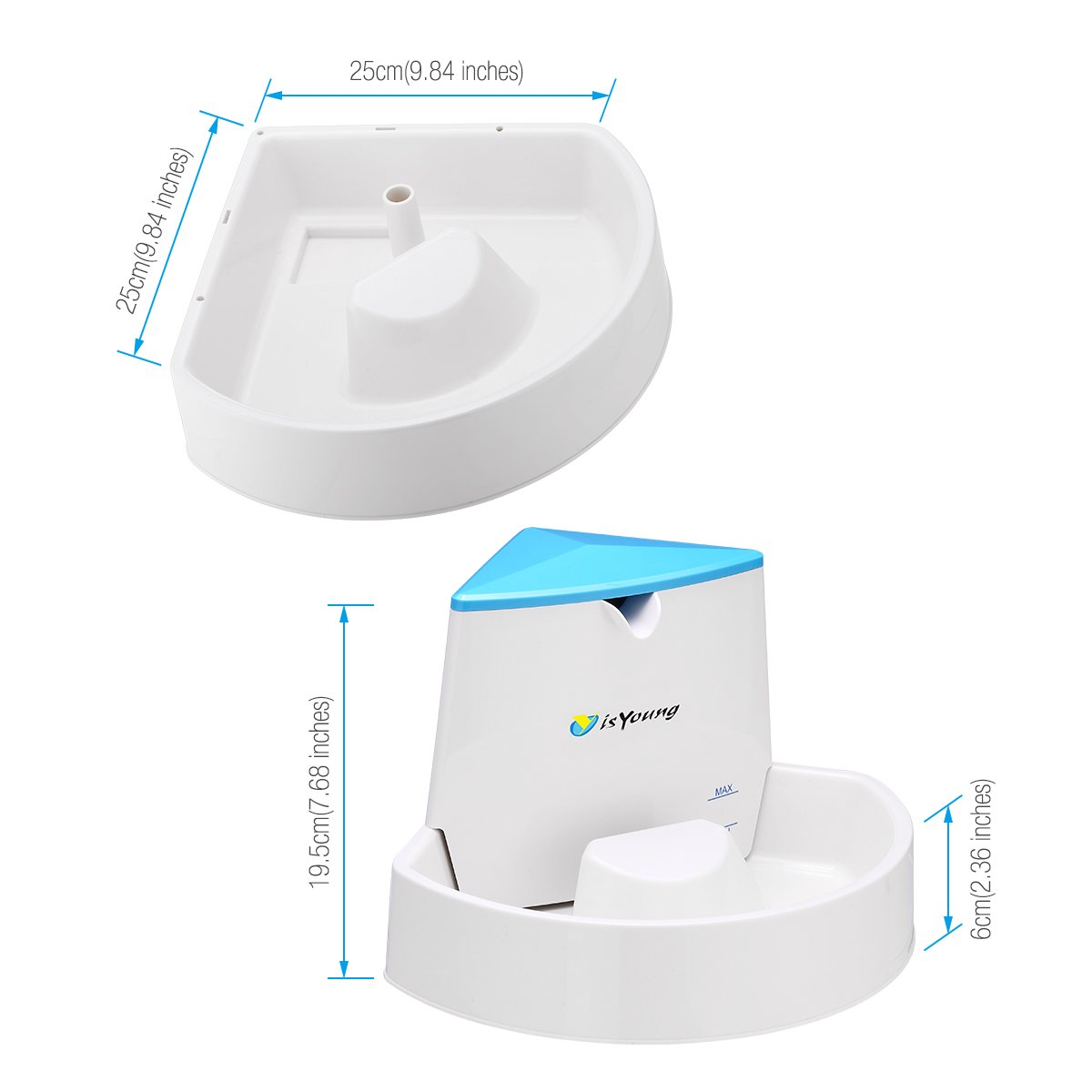 isYoung Pet Fountain Automatic Water Dispenser for Dogs and Cats, Healthy and Hygienic Dog Fountain (Corner Fountain)