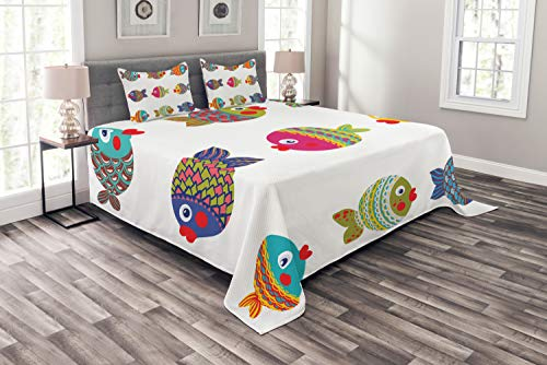 Ambesonne Ethnic Bedspread, Boho Featured Ornate Fishes Gills Under The Sea Childish Kids Nursery Theme, Decorative Quilted 3 Piece Coverlet Set with 2 Pillow Shams, Queen Size, White - 2 Sea Queen Piece