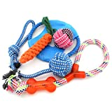 (US) Ranphy Medium Large Durable Dog Chew Toys, 5 Pack Interactive Dog Toys Tug-o-War Ball Toys on Rope for Aggressive Chewers Training Toy Gift Set
