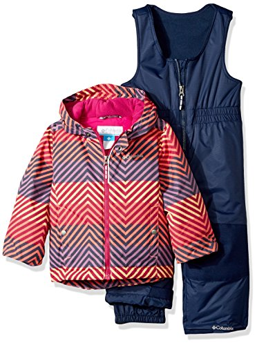 Columbia Little Girls' Frosty Slope Set, Hot Coral Zig N Zag, 2T - Snowboard Jacket Hot Coral