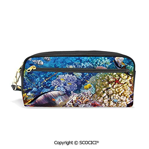 - Fasion Pencil Case Big Capacity Pencil Bag Makeup Pen Pouch Egyptian Red Sea Bottom View with Marine Creatures Top of Tribal Ocean Scuba Image Durable Students Stationery Pen Holder for School