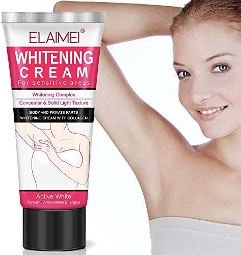 Natural Underarm Whitening Cream, Armpit Lighting and Bikini Intimate Bleaching, Crotch and Nipple Whitening Pinkish Cream, Elbow Knee Ankle Brightening White Gel