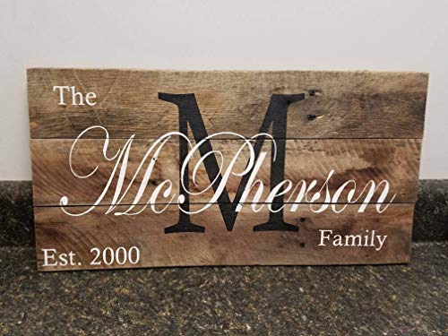 Diuangfoong Custom Name Wood Signlast Name Sign Personalized Wood Sign Wedding Gift Sign Established Date Family Sign Rustic