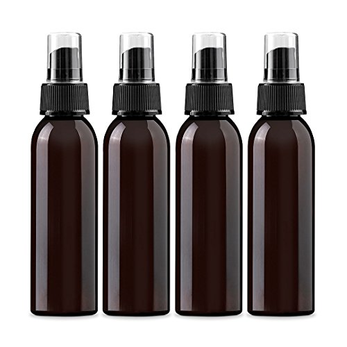 Organic Travel Kit 1.5 Oz Organics - 4 oz Amber PET (Plastic) Empty Spray Bottle- Pack of 4