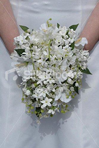 Bouquet Sposa Gelsomino.Silk Blooms Ltd Avorio Bianco Gelsomino Mughetto Hibscus Bouquet