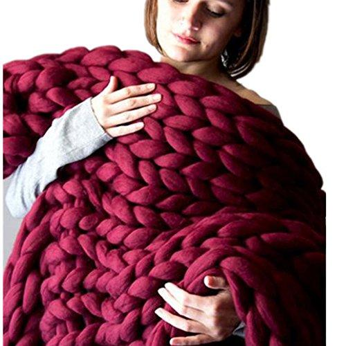 Merino Aran Yarn (Makaor Merino Wool Yarn Super Soft Bulky Arm Knitting Wool Roving Crocheting DIY For Chunky Blanket By Length : 14M (±2M), Wine red)