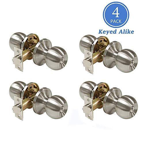 (Satin Nickel Combo Entry Door Handles Keyed Alike, Entrance Door Knobs for Exterior Door Keyed Entry Door Knob Set, Easy to Install, Contractor Pack of 4)