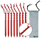 VILIGHT Camping Tent Stakes 8X 8.3 - Ultralight and Heavy Duty 7075 Aluminum - 3 Guy Points