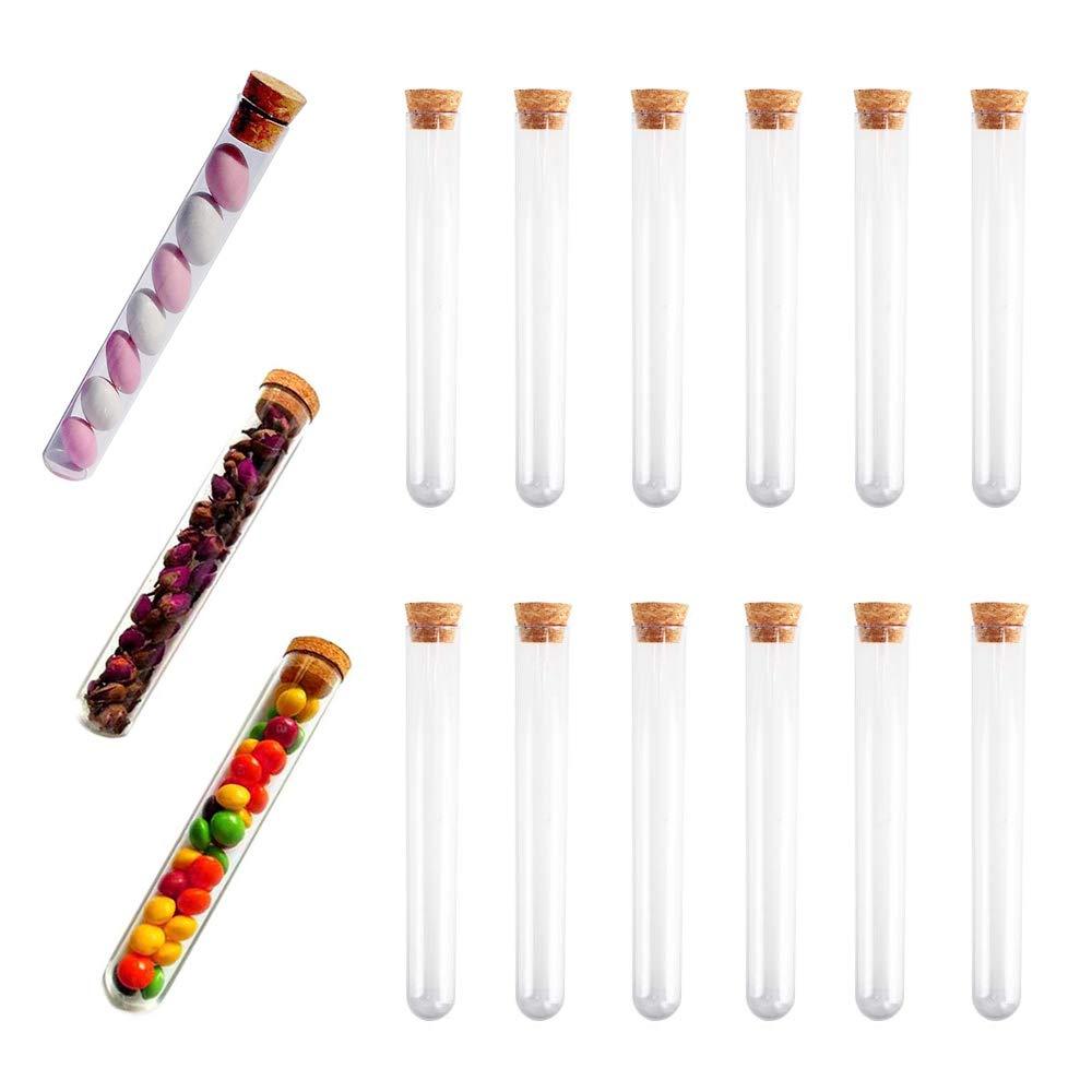 Tubos de Ensayo de Plástico KINDPMA 30ml Tubos Ensayo Boda Transparentes con Tapones de Corcho para Boda Bautismo Nacimiento Recipientes Abalorios Mr & Mrs Bricolaje Polvo 20 x 150 mm 15 Piezas