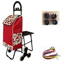 HCC& Dolly Shopping Cart Climb the Stairs Trolley Portable Multifunction High capacity Rubber Bearing wheel Shopping Grocery Foldable Cart with Seat