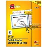Avery 73601 Self-Adhesive Laminating Sheets, 9 x 12