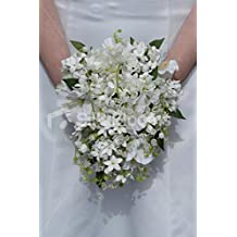 Ivory White Jasmine Lily of the Valley & Hibscus Bridal Bouquet