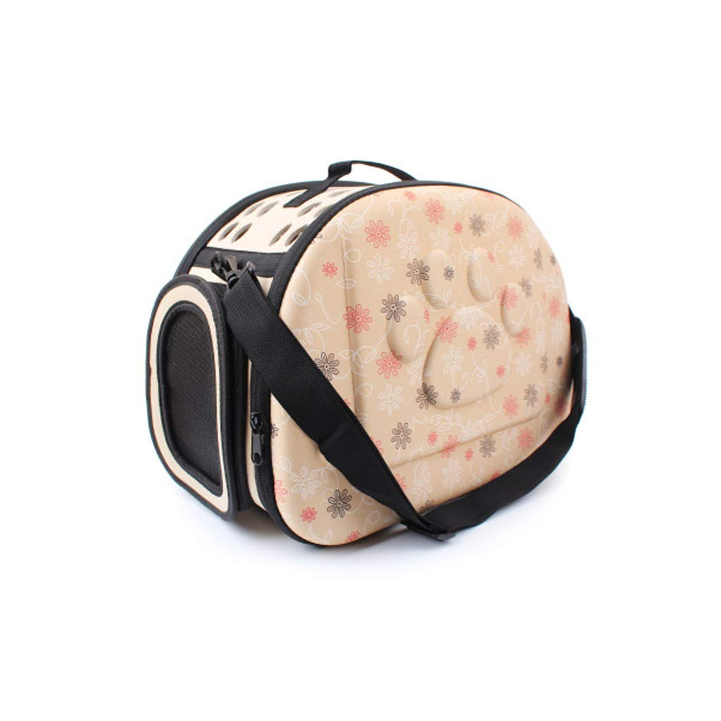 Beige Pet Carrier Backpack Lightweight Luxury Soft Sided Folding Breathable Mesh with Convenient Side Pockets Portable Or Single Shoulder,Beige