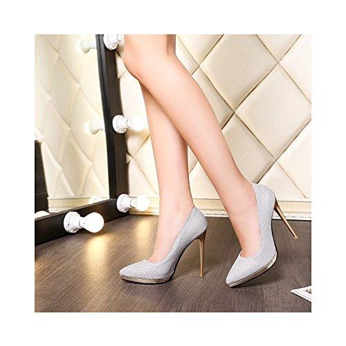 OCHENTA Mujer Atractivos de Moda Zapatos de Tacón Alto 12,5CM Boda Plateado