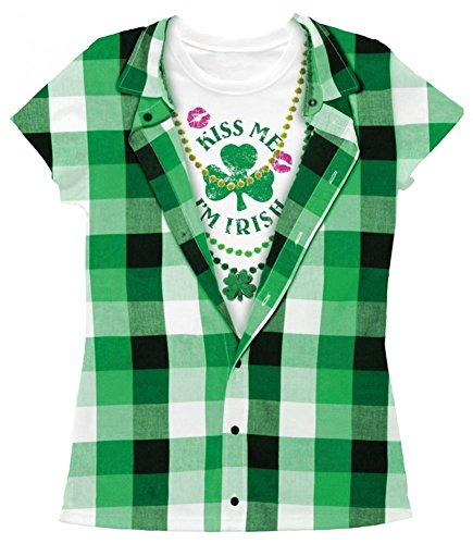 Juniors: Kiss Me I'm Irish Costume Tee Juniors (Slim) T-Shirt Size (Kiss Me I'm Irish Costume)