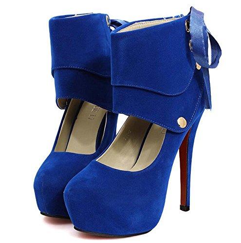 Bomba de 14 cm de estilete puntiaguda dedo del pie Seude zapatos de tacón alto zapatos de mujer encantadora tobillos desmontable Bowknot remaches zapatos de boda Zapatos de fiesta de la UE Tamaño 34-4 Blue