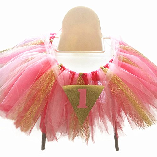 1st Birthday Baby Tulle Tutu Chair Skirt for High Chair Decoration for Party, Wedding And Home (Tutus For Babies 1st Birthday)