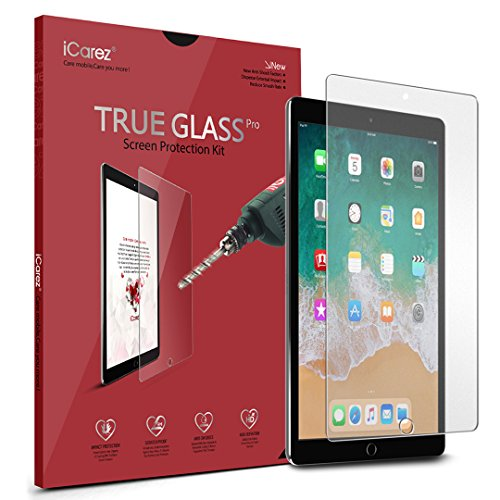 iCarez [Tempered Glass Screen Protector for Apple 10.5-inch iPad Pro Premium Easy Install [1-Pack 9H 0.3MM 2.5D] with Lifetime Replacement Warranty