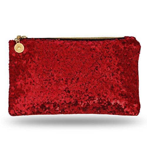 Bolso Damas Rojo Una O Embrague Noche Boda De Para Para Ideal Cremallera Brillante Noble Donovan Fiesta Señora Niñas Billetera Con Y Una TW0Z5BREZw