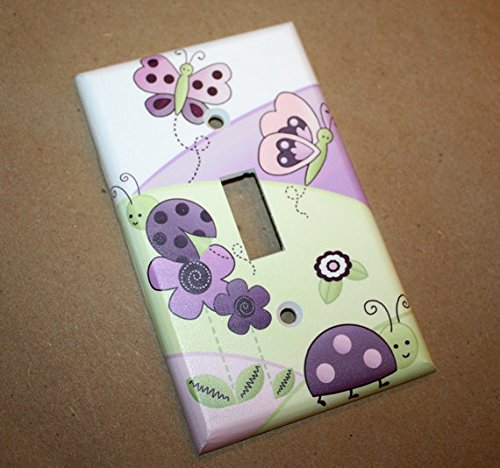 Plum Love Bugs Girls Bedroom Light Switch Cover LS0047 (Single Standard) Toad and Lily LS0047a