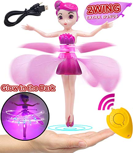 Flying Fairy Dolls for Girls Remote Control Induction RC Helicopter for Kids Ballet Girl Flying Princess Doll 360°Rotating Chargeable Flying Fairy Toy for Holiday Birthday Gifts for Girls boys Toys (2 Spare Wings)