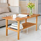 bamboo living room set. HOMFA Bamboo Living Room Tables  Large Simply Modern Coffee Tea Table with Base Shelf for Home Office Furniture Decor 100 Natural Amazon com Kitchen