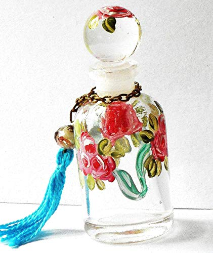 Romantic Boho Victorian Decor Little Mini Glass Perfume Bottle With Round Stopper Cap and Hand Painted Roses