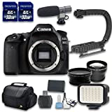 Canon EOS 80D DSLR Camera Bundle (Body Only - No Lenses) with Wideangle + Telephoto Lenses + LED Light + 2 PC 32 Cards + Microphone + Case + Scorpion Grip + 6 PC Starter Kit