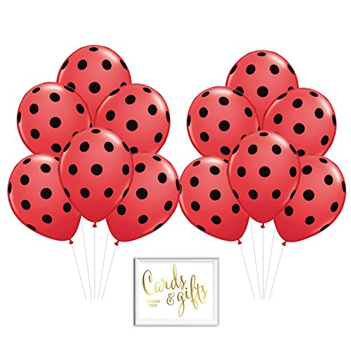 Andaz Press Bulk High Quality Latex Balloon Party Kit with Gold Cards & Gifts Sign, Ladybug Red Black Polka Dot Printed 11-inch Balloons for Birthday Baby Shower, Wholesale 50-Pack ()