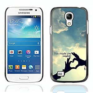 Graphic4You You Make Me Complete Heart Hands love Theme Design Hard Case Cover for Samsung Galaxy S4 Mini