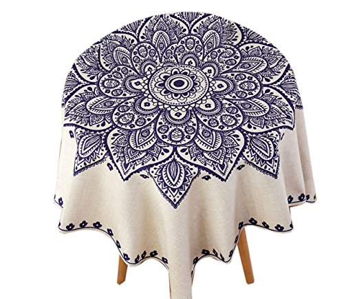 SUFCOMOU Linen Cotton Tablecloth for Rectangle Small Round Outdoor Table Washable Vintage Boho Pattern 55''x55