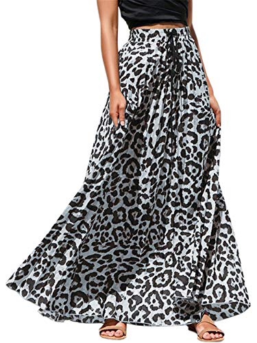 Pengfei Womens Leopard Print Long Skirts Drawstring High Waisted Beach Boho Maxi Skirt Grey