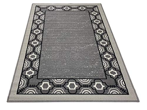 Trellis Border Moroccan Design Printed Slip Resistant Rubber Back Latex Runner Rug and Area Rugs More Color Options Available (Grey Black, 3